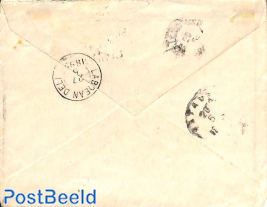 cover from Apeldoorn (see postmark) to Deli. Princess Wilhelmina (hangend haar)