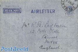 Aerogramme 7d on blue paper