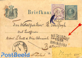 beautiful 'briefkaart' to Batavia. See NED INDIE postmark.