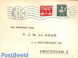 Letter with child welfare stamp sync. perf. (Roltanding)