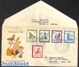 Child welfare 5v, FDC, open flap, typed address
