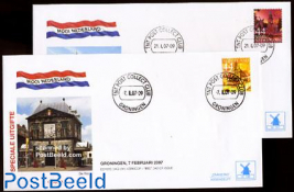 Beautiful Holland, Gouda/Groningen 2v FDC Mill set