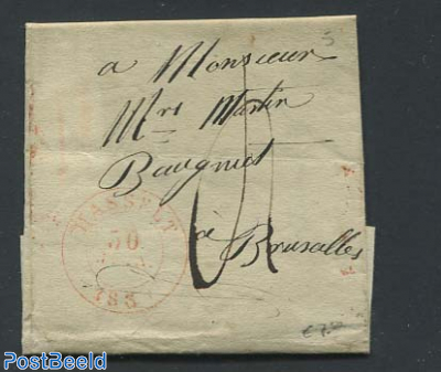 Folding letter to Brussels with its mark.