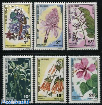 Postage due, tropical flowers 6v