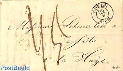 Folding letter from Coeln to la Haye