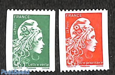 Marianne definitives, coil stamps 2v