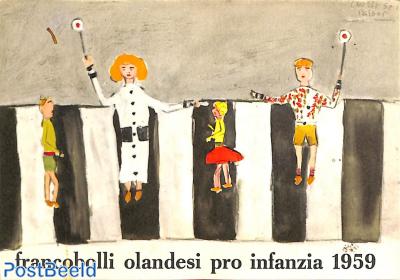 Original Dutch promotional folder from 1959, Child welfare, Italian language