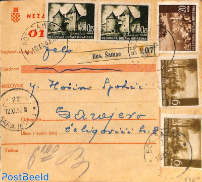 Parcel card with Postage Due