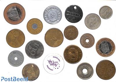 Collection of 16 token coins