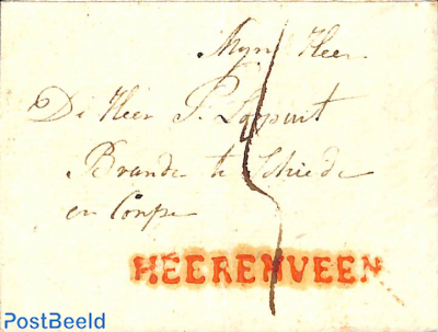 Folding letter from HEERENVEEN to Schiedam