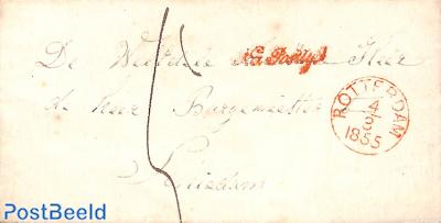 Folding letter from ROTTERDAM to SCHIEDAM, NA POSTTIJD