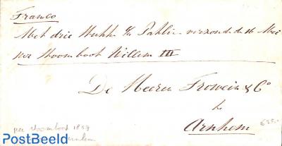 Folding invoice from Nijmegen to Arnhem per Stoomboot Willem III