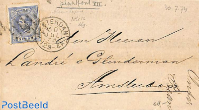 memorandum from and to Amsterdam.  to London. Puntzeggel, Amsterdam postmark. King Willem lll 5 cent
