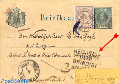 beautiful 'briefkaart' to Batavia. See NED INDIE postmark.