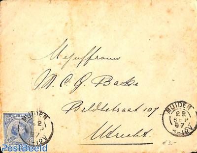 small cover from Muiden to Utrecht. See Muiden postmark. Princess Wilhelmina 5cent