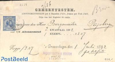 subscription from the Hague to Rijsbergen. Princess Wilhelmina (hangend haar)
