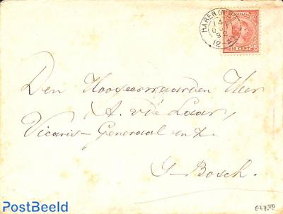 Cover from Haren (see postmark) to 's Hertogenbosch. Princess Wilhelmina (hangend haar) 10c