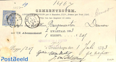 subscription from The Hague to Drunen via Heusden, see postmarks. Princess Wilhelmina (hangend haar)