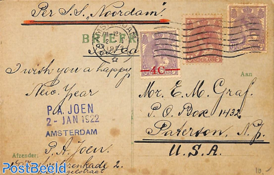 Postcard to USA with remarkable franking