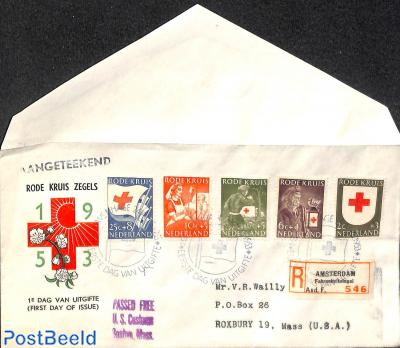 Red Cross FDC, Open flap, typed address