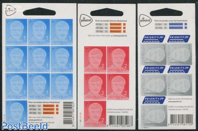 Definitives King Willem Alexander 3 minisheets s-a (with year 2013)