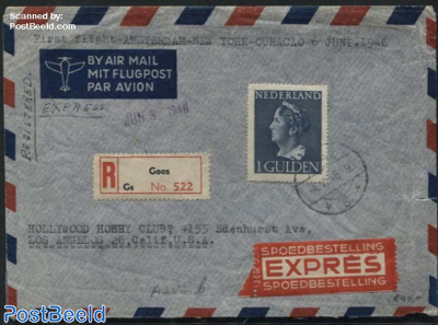 Queen Wilhelmina. Registered expres airmail to Los Angelos