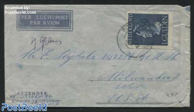 Queen Wilhelmina. Airmail to USA