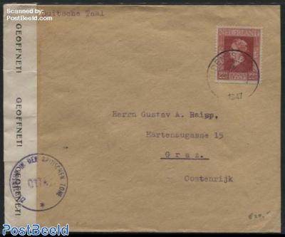 Queen Wilhelmina. Cover from Leiden to Graz, Austria