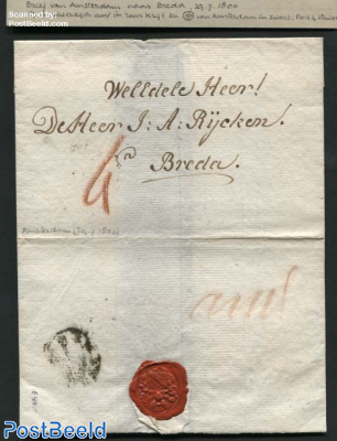 Letter from Amsterdam to Breda, wax seal, paid 4 stuiver