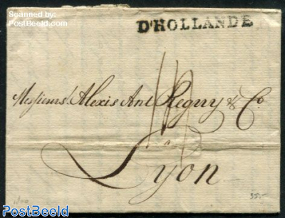 Folding letter from Amsterdam to Lyon