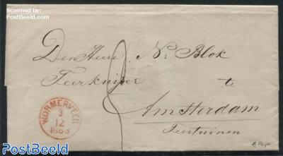 Folding letter from Krommenie to Amsterdam via Wormerveer