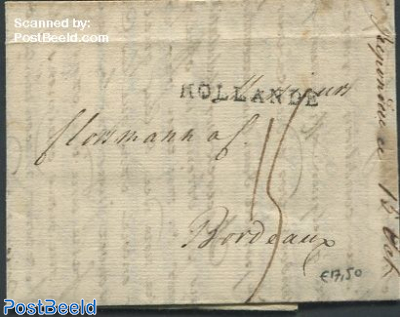Folding letter from Amsterdam to Bordeaux