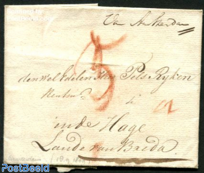 Folding letter from Amsterdam to Breda