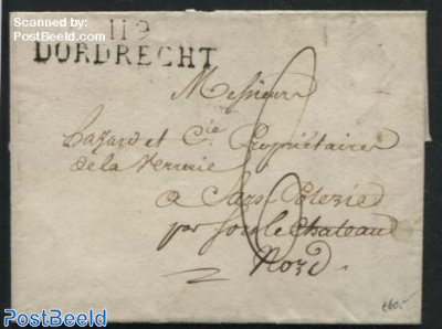 Folding letter from Dordrecht to Sars Poterie (F)