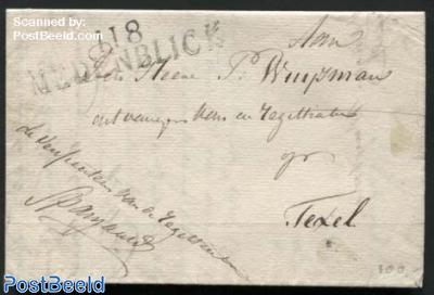 Letter from Medemblick (Postmark: II 8 Medenblick) to Texel