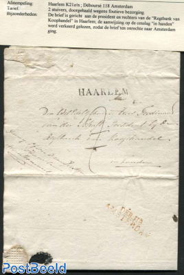 Letter from Haarlem to Amsterdam (by mistake)