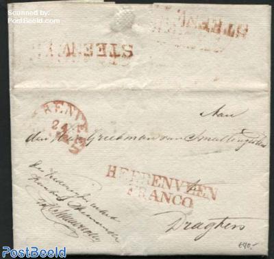 Letter from Steenwijk via Heerenveen to Drachten
