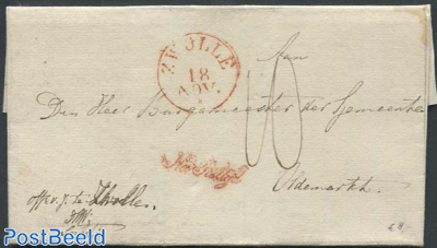 Folding letter from Zwolle to Oldenmark