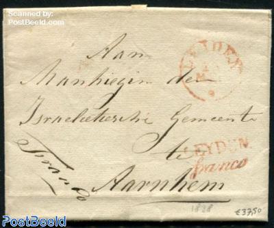 Folding letter from Leiden to Arnhem
