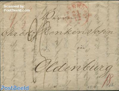 Folding letter from Amsterdam to Oldenburg