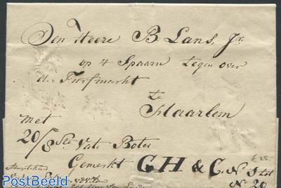 Folding letter from Leiden to Haarlem