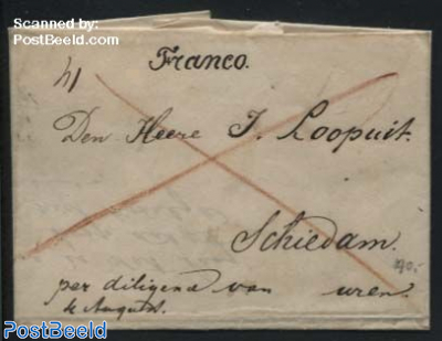Letter from s-Gravenhage to Schiedam by Diligence