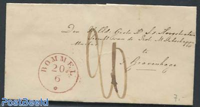 Folding cover from Alkmaar to Leeuwarden, Almaar 1855 mark added