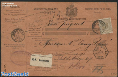 Parcel card with 50c stamp Willem III