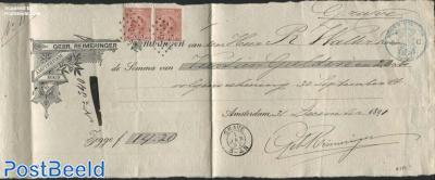 Receipt, Gebr. Reimeringer Amsterdam, with 2x10c Wilhelmina, postmark kleinrond GravE