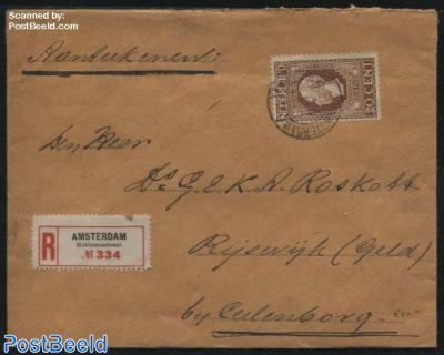 King Willem II 20c on registered letter to Rijswijk (Gld)
