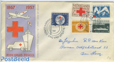 Red Cross 5v FDC with address