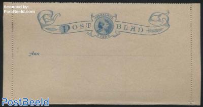 Card letter (Postblad) 5c blue, Wilhelmina