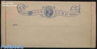 Card letter (Postblad) 5c ultramarin, Wilhelmina