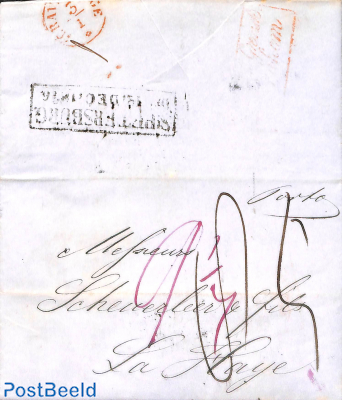 Folding letter from St Petersburg to La Haye (Den Haag NL)